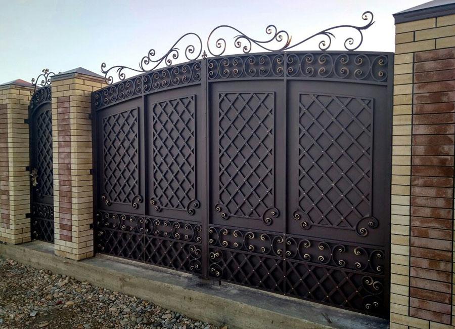 Кованые ворота фото размер